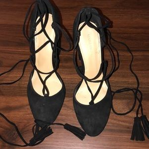 Marc Fisher Black Suede Lace Up Heels, Size 8 1/2